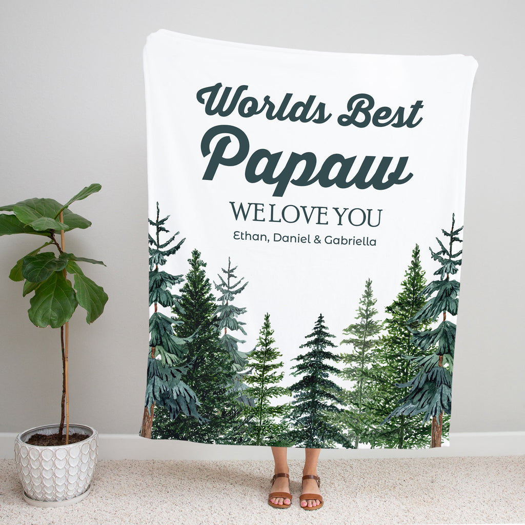 Tall Pines Personalized Adult Blanket for Papaw