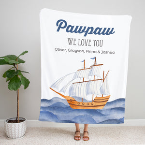 Ocean Blue Personalized Adult Blanket Gift for Pawpaw