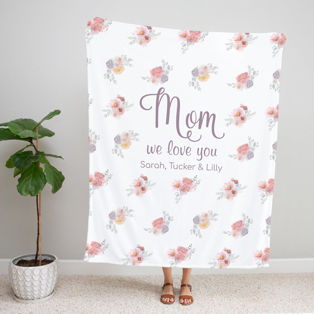 Dusty Blooms Personalized Blanket for Mom