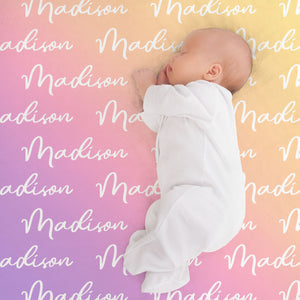 Sweet Dreams Rainbow Personalized Name Blanket for Babies