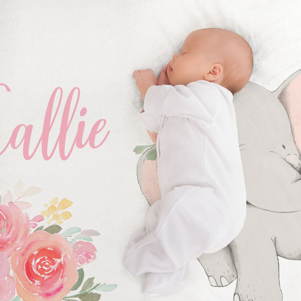 Callie Pink Elephant Personalized Minky Crib Sheet Baby Shower Gift