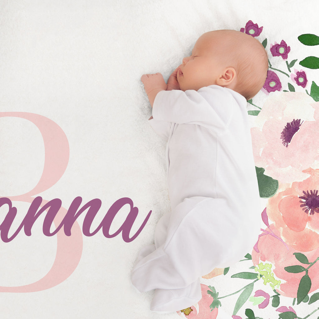 Brianna Floral Initial Minky Personalized Crib Sheet Baby Shower Gift
