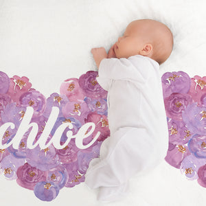 Purple Floral Hearts Minky Personalized Crib Sheet Baby Bedding for Girls