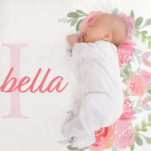 Isabella Floral Initial Personalized Minky Crib Sheet Baby Shower Gift