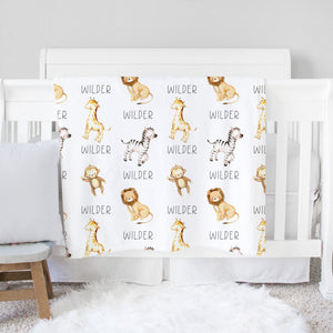 Wilder Safari Animals Personalized Baby Blanket with Name