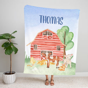 On the Farm Personalized Minky Blanket with Cow, Chicken, Lamb & Bunny
