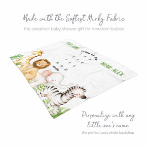 Jungle Animals Boy Milestone Baby Blanket for Twins Baby Boy Gift
