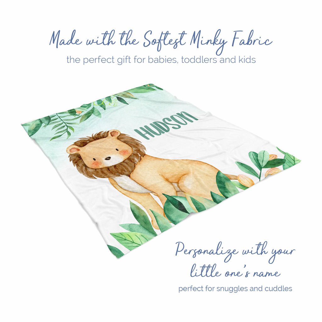 Jungle Lion Personalized Minky Blanket Gift for Boys