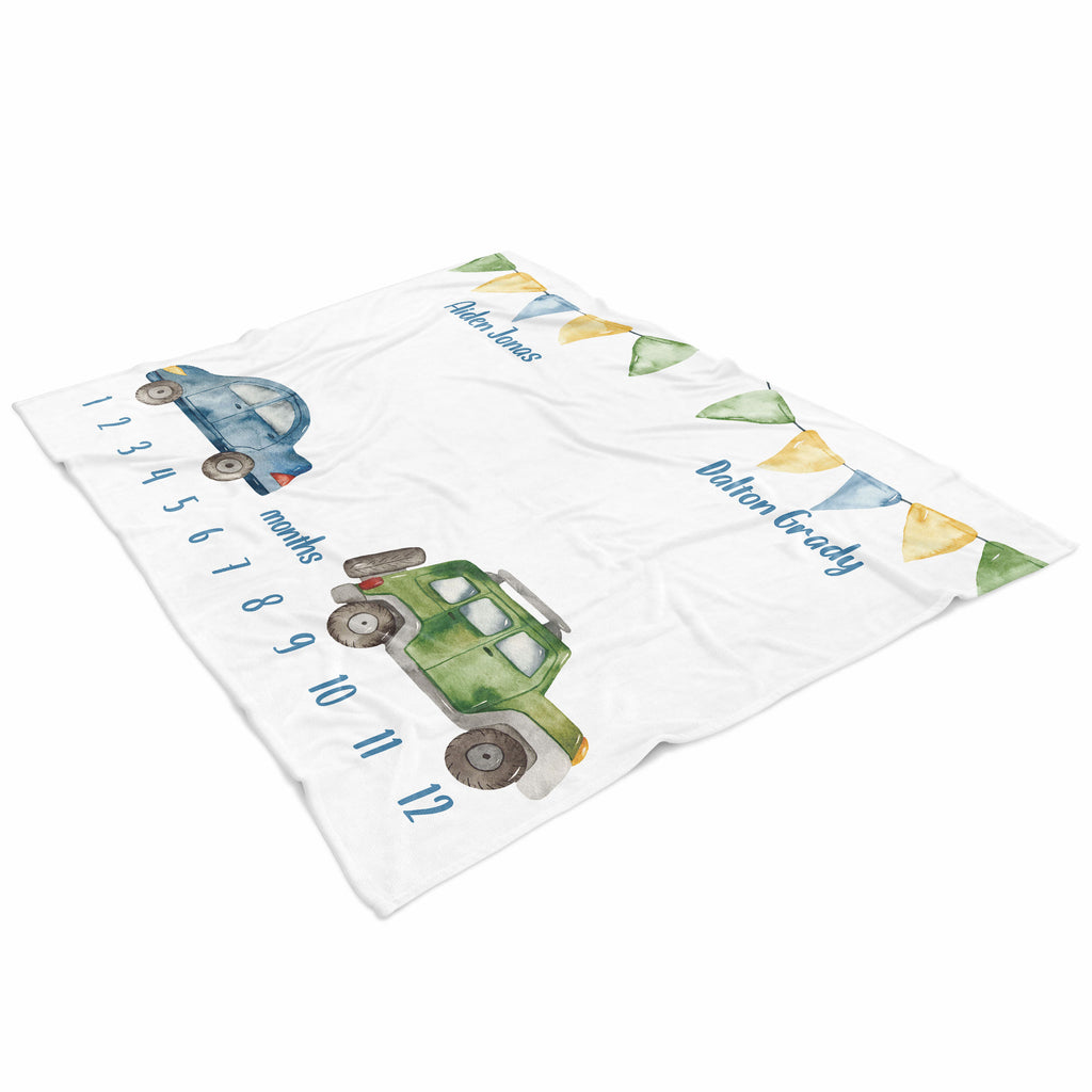 Cars & Trucks Personalized Milestone Baby Blanket for Twins Baby Shower Gift