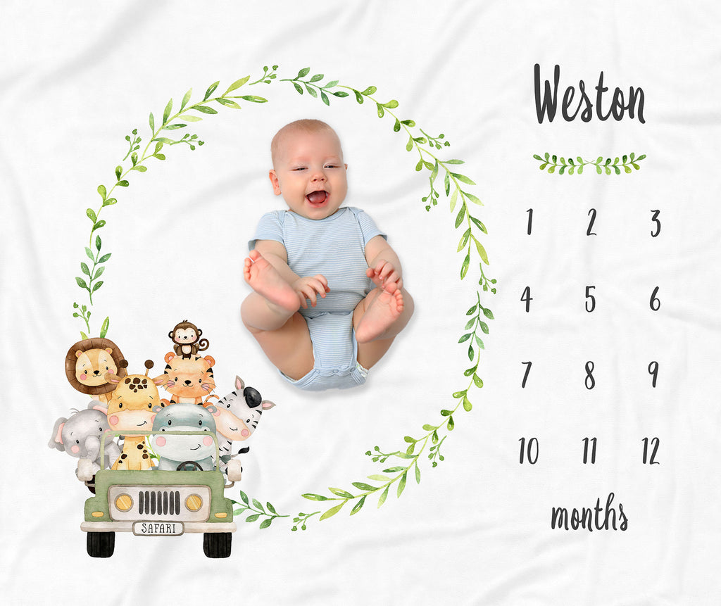 Weston Jungle Jeep Monthly Milestone Baby Blanket