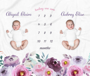 Purple Floral Personalized Milestone Baby Blanket for Twins