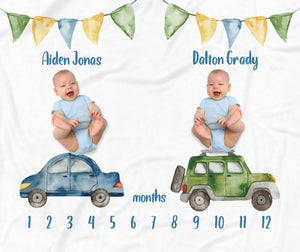 Cars & Trucks Personalized Milestone Baby Blanket for Twins