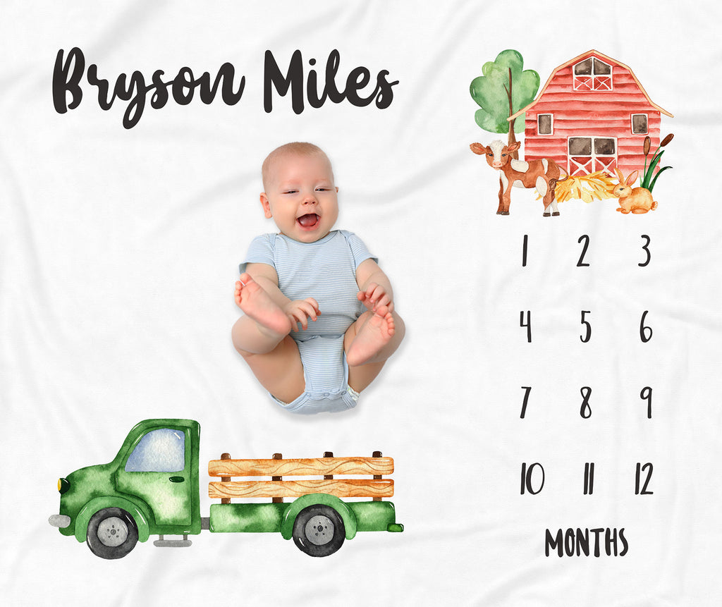 Little Green Truck Personalized Milestone Baby Blanket for Baby Boys
