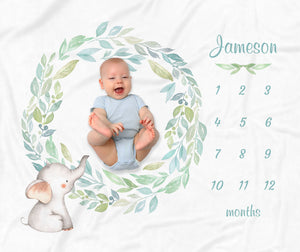 Jameson Elephant Wreath Personalized Milestone Baby Blanket Baby Shower Gift for Boys