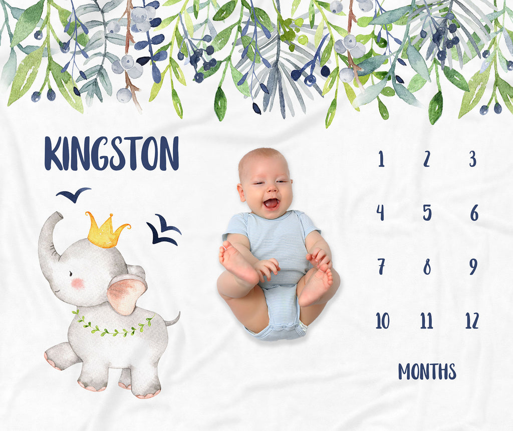 Kingston Elephant Monthly Milestone Baby Blanket