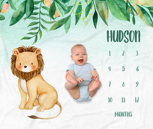 Jungle Lion Milestone Personalized Baby Blanket for Boys