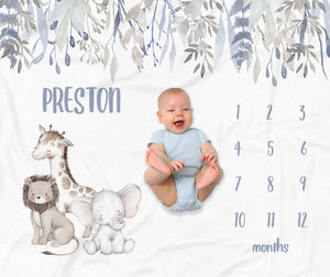 Preston Safari Animals Milestone Baby Blanket for Boys