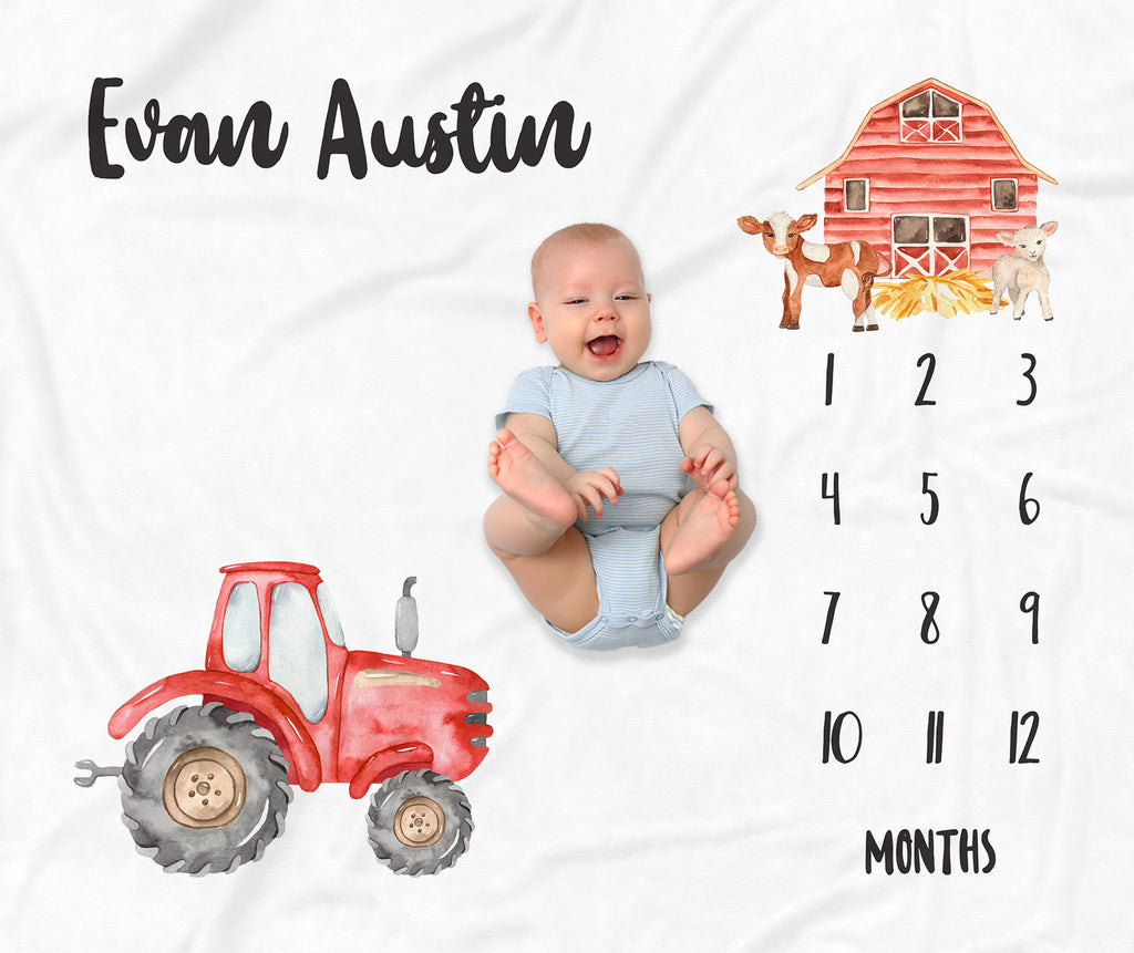 Little Red Tractor Personalized Milestone Baby Blanket for Boys