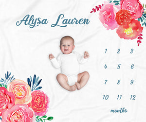 Alysa Bright Floral Personalized Milestone Baby Blanket for Baby Girls