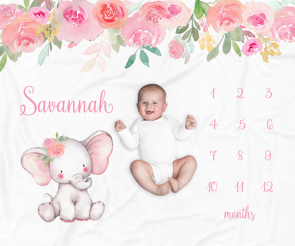 Pink Elephant Personalized Milestone Baby Blanket for Baby Girls