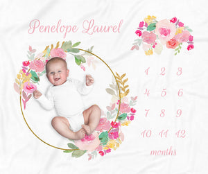 Pink Floral Wreath Personalized Monthly Milestone Baby Blanket for Baby Girl