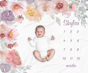 Skylar Flower Garden Personalized Milestone Baby Blanket for Girls