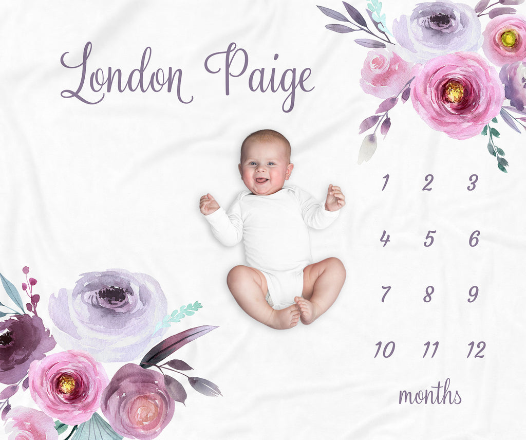 London Purple Floral Personalized Milestone Baby Blanket for Baby Girls