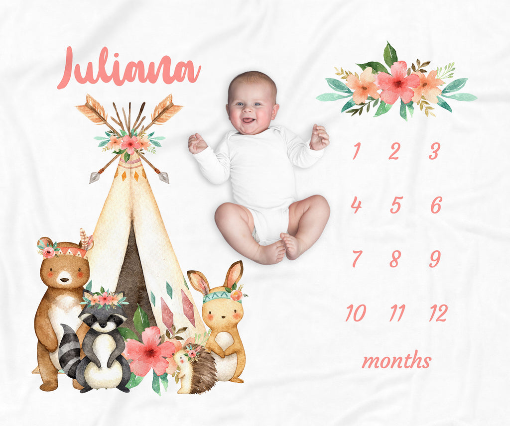 Juliana Tribal Personalized Milestone Baby Blanket for Baby Girls