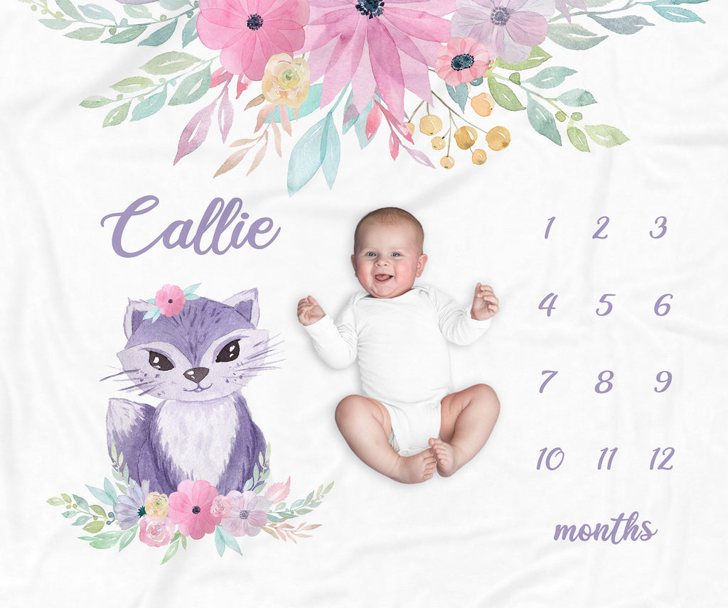 Callie Cat Milestone Personalized Baby Blanket for Baby Girls