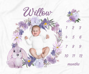 Willow Purple Bunny Personalized Milestone Baby Blanket for Baby Girls