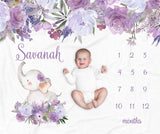 Savannah Purple Floral Elephant Personalized Milestone Baby Blanket for Baby Girls