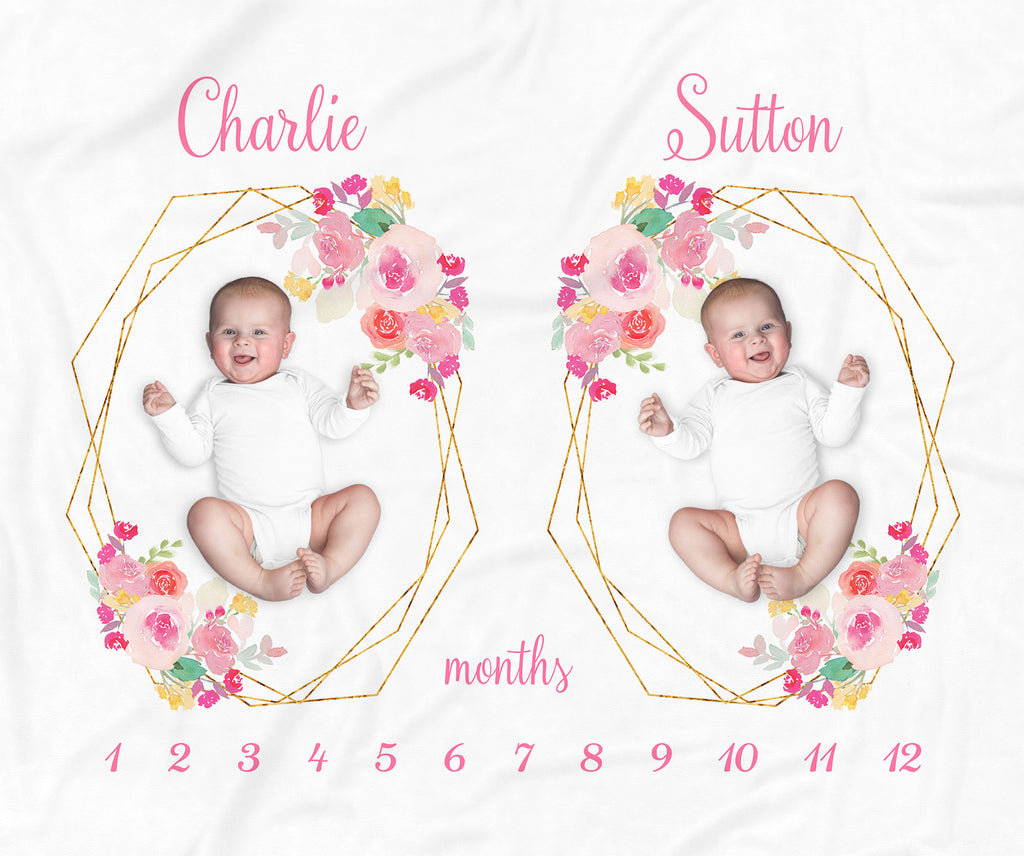 Floral Frames Personalized Milestone Baby Blanket for Twins