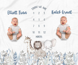 Jungle Trio Milestone Baby Blanket for Twins Baby Gift for Boys