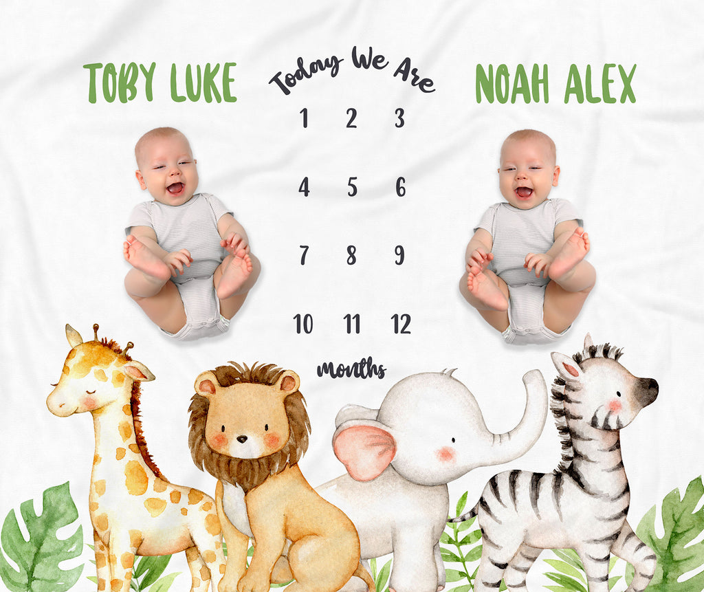 Jungle Animals Boy Personalized Milestone Baby Blanket for Twins