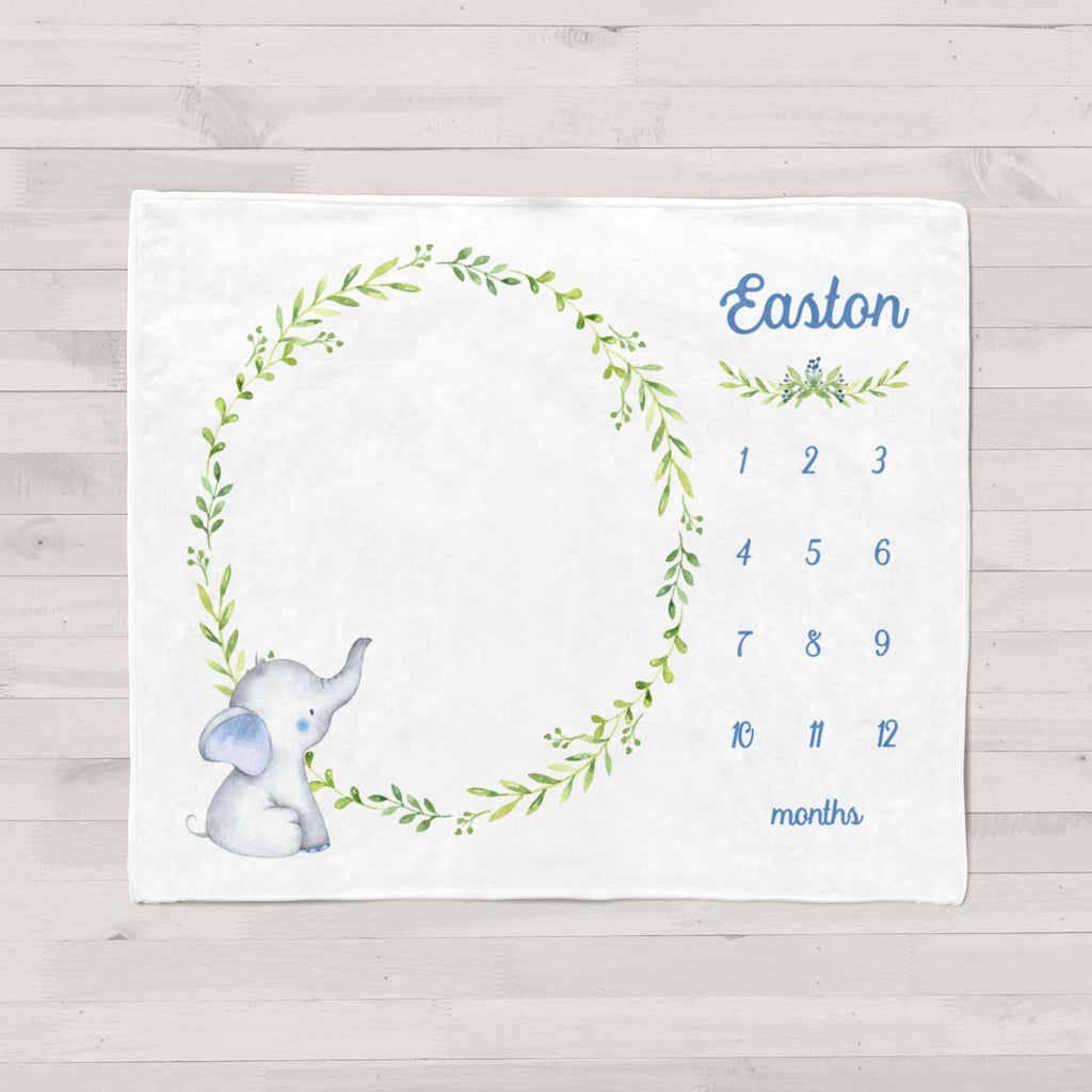 Easton Elephant Personalized Milestone Baby Blanket