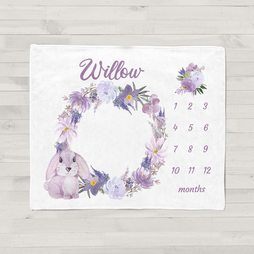 Willow Purple Bunny Personalized Milestone Baby Blanket