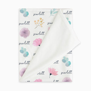 Scarlett Watercolor Floral Personalized Name Baby Blanket for Baby Girls