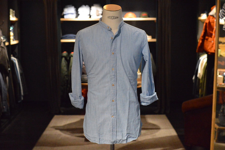 Bolzonella 1934 Men's Shirt Mao 2 Denim
