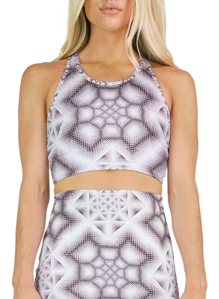 Ink Wash Grey Racerback Crop