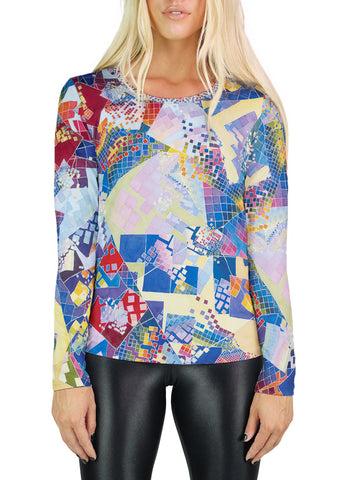 Blue Chaos Swatch Womens Long Sleeve