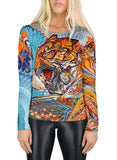 Tiger Swallow Tail Womens Long Sleeve