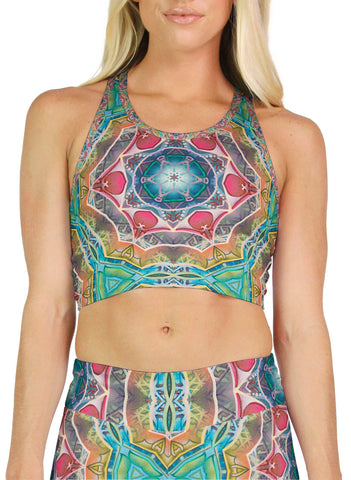 Call to Evolve Patterned Racerback Crop