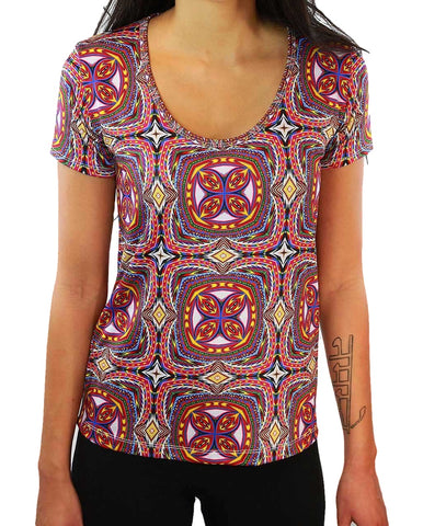 Apotheosis of Dualitree Pattern SCOOP NECK T-SHIRT