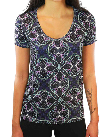 Sacred Mirror Pattern SCOOP NECK T-SHIRT