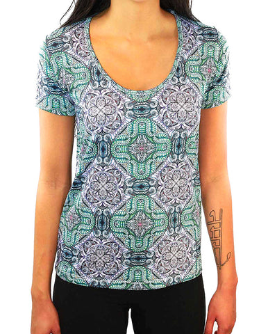 Fawkes Pattern SCOOP NECK T-SHIRT