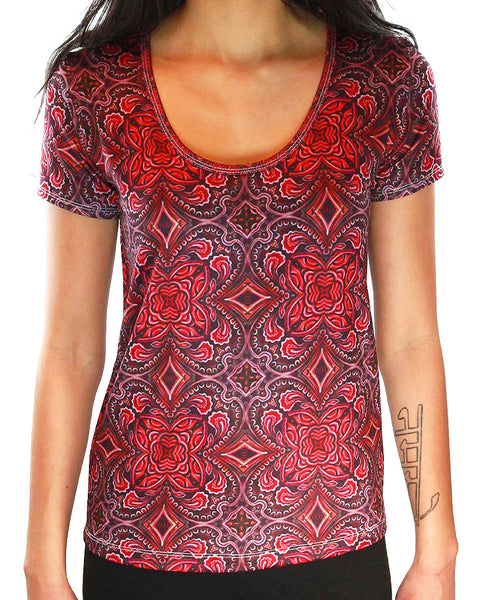 Party Monster Pattern SCOOP NECK T-SHIRT