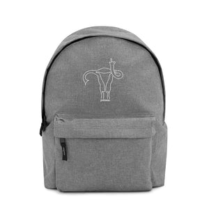 """Uterus Middle Finger"" Embroidered Backpack"