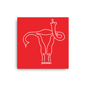 """Uterus Middle Finger"" Red Canvas"