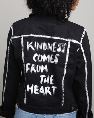 WORDSCOUNT X MGL  - KINDNESS COMES FROM THE HEART | Black Denim