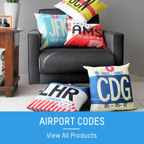 airport code flight tag pillows